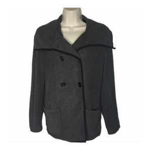 Old Navy Charcoal Grey Fleece Double Breasted Coat